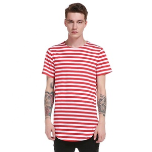 Summer Fashion Hip Hop Curved Hem Hipster Blank Striped Tee shirts Wholesale Striped T-shirt