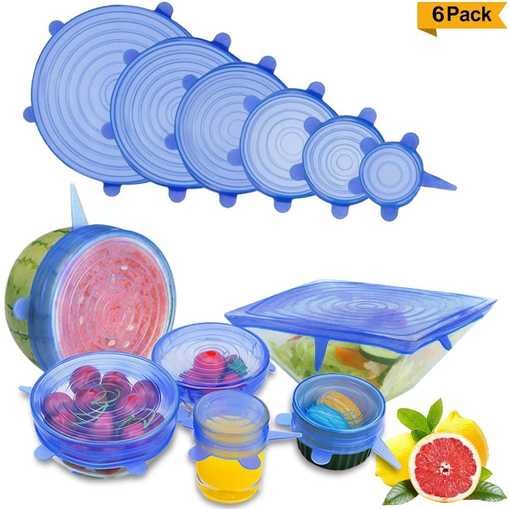 AMACHOK Silicone Stretch Lids, Durable 6-Pack Silicone Food Saver Lids, Fit Various Size & Shapes of Containers, Reusable for Keeping Food Fresh