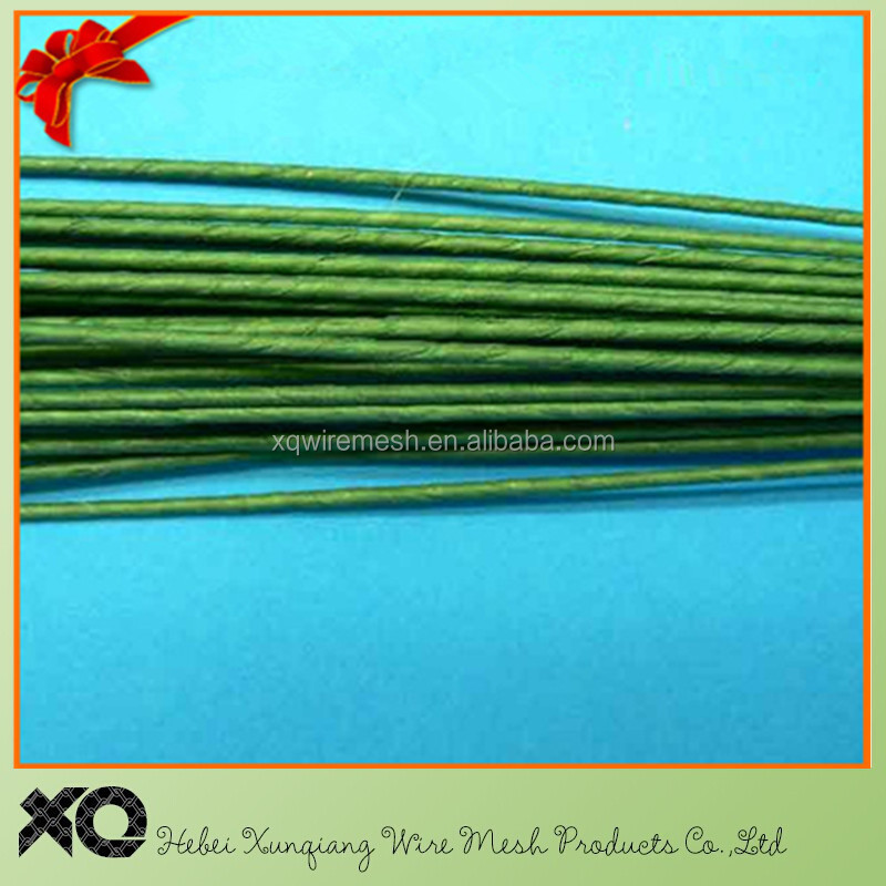 Green & White color paper covered wire stem/ floral wire