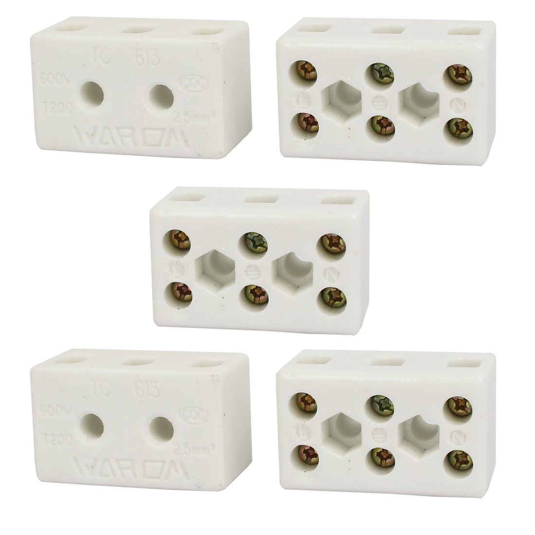 uxcell 600V 15A 3 Position 8 Hole Ceramic Terminal Blocks Wire Cable Connectors 5pcs