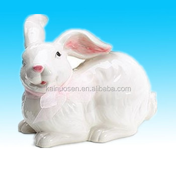"White Ceramic 5 1/2"" high Bunny Rabbit Figurine with Pink Ribbon Adorable Easter Decor"
