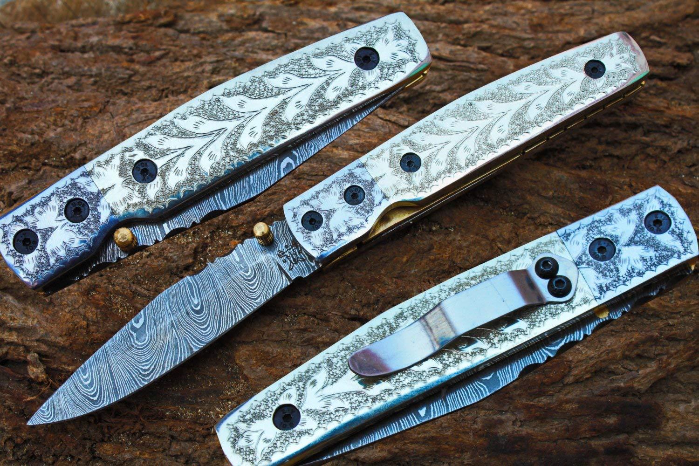 "3.5"" Damascus Blade Custom Handmade Folding knife w/ Engraved Handle, Pocket Clip, File-Work, Liner Lock & Sheath cover UDK-US-103"