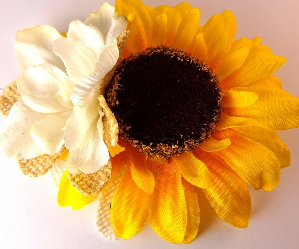 Buy sunflower hair clip with ivory and burlap flower in cheap price sunflower hair clip with ivory and burlap flower izmirmasajfo
