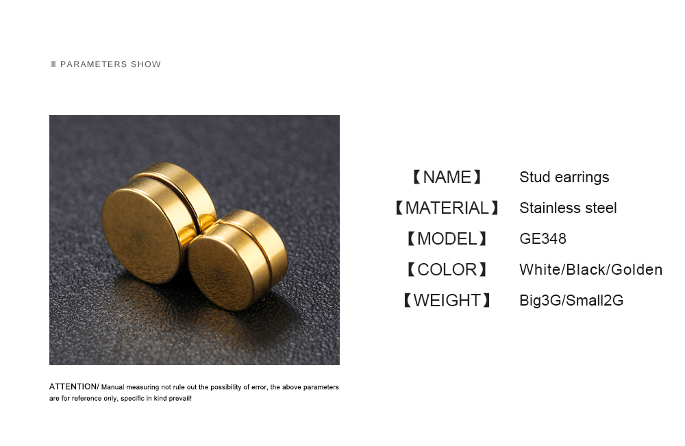 Fashion Jewelry Men Stainless Steel Magnetic No Hole Earring