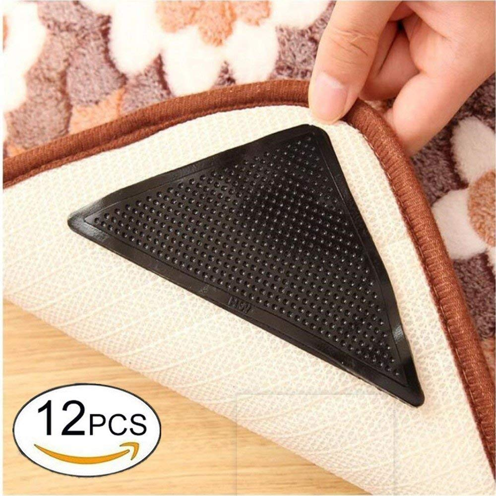 Janice life Rug Grippers Carpet Rubber Anti-skid Pad with Triangle Black Strong Sticky Rug Double Sided Tape (black, 12)