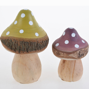 Wooden Craft Handicraft Mushroom with Cute Design for Garden Decoration