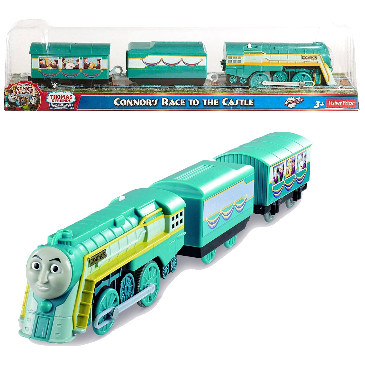 Fisher Price Year 2013 Thomas and Friends As Seen On King of the Railway DVD Series Trackmaster Motorized Railway Battery Powered Tank Engine 3 Pack Train Set - CONNORS RACE TO THE CASTLE with 1 Cargo Car and 1 Passenger Car