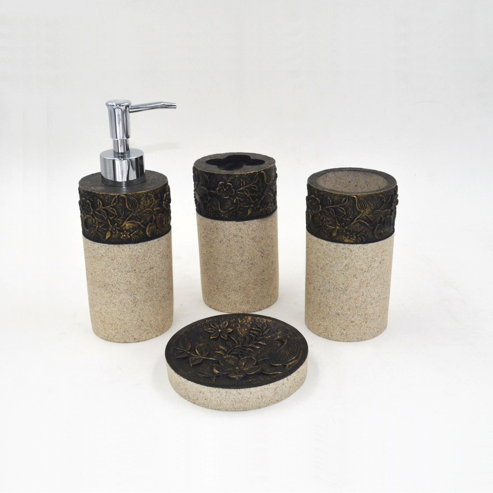 Natural gold brown carved flower resin sandstone bathroom accessories set