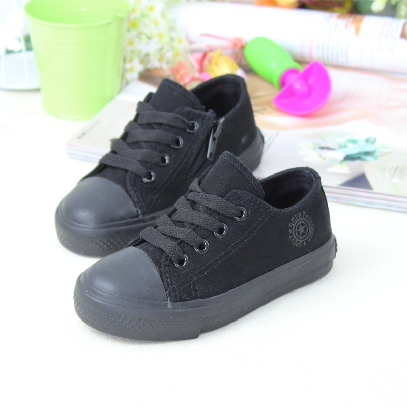 Baby Shoe 2015 Spring And Autumn Black White Boy And Girls Canvas Shoes Children And Student Shoes Size 25-37 Free Shipping