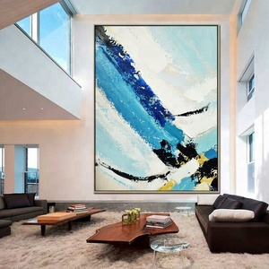 Contemporary Modern Decor Blue Textured Oil Painting Abstract Canvas Wall Art