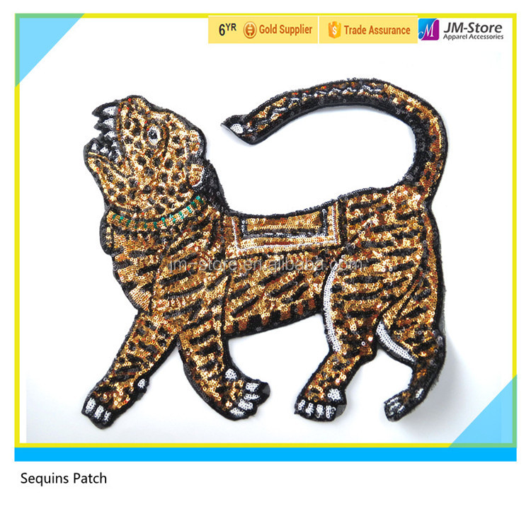 Wholesale Sequin Tiger Embroidery Patch Sew on or Lron on Patch for T-Shirt