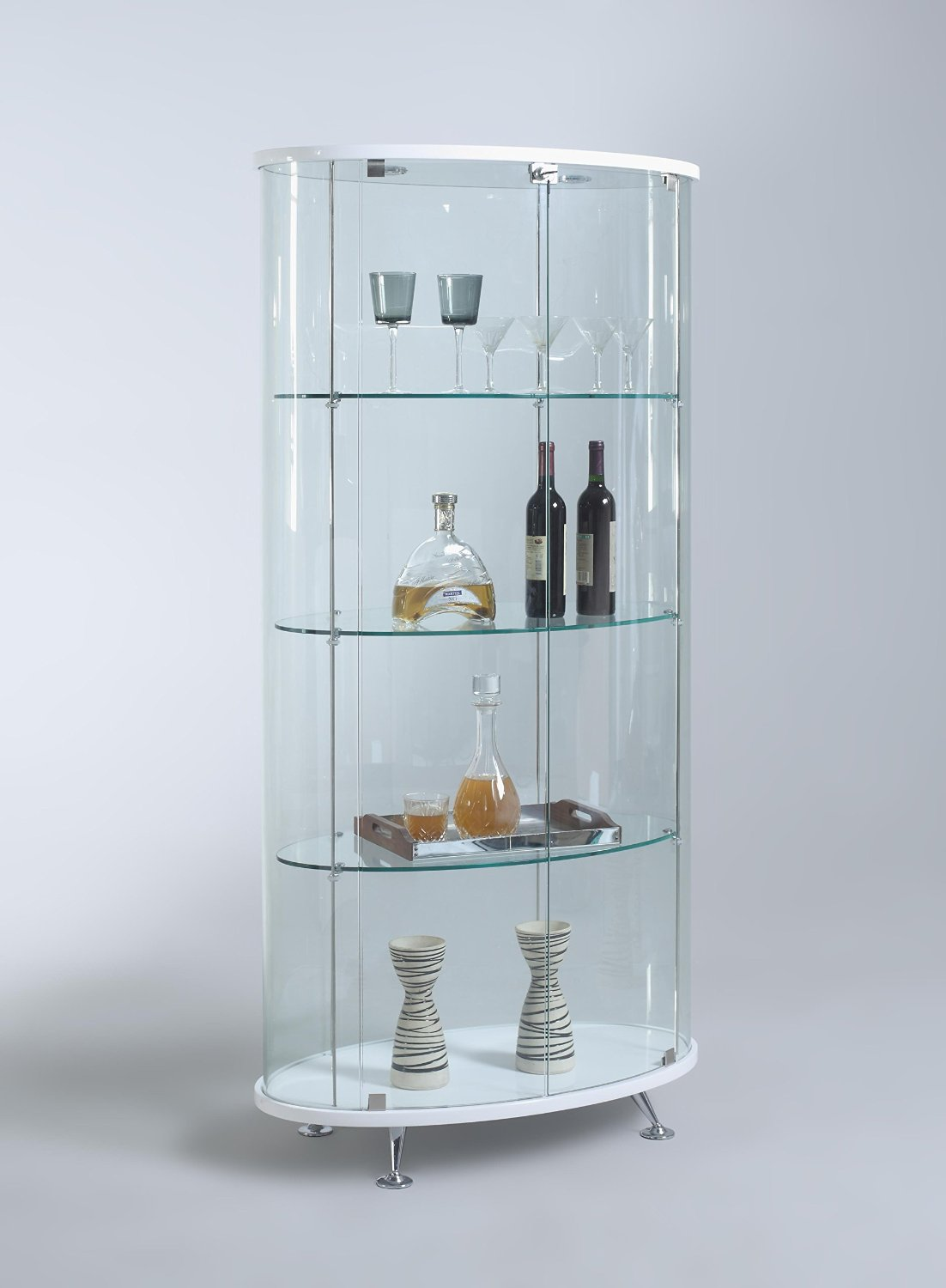 Great Get Quotations · Chintaly Imports Oval Glass Curio Cabinet With 2 Doors/3  Shelves/1 Light U0026