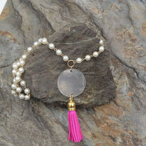 Artificial Vinyl Clear Disc Long Pearl Tassel Pendant Necklace