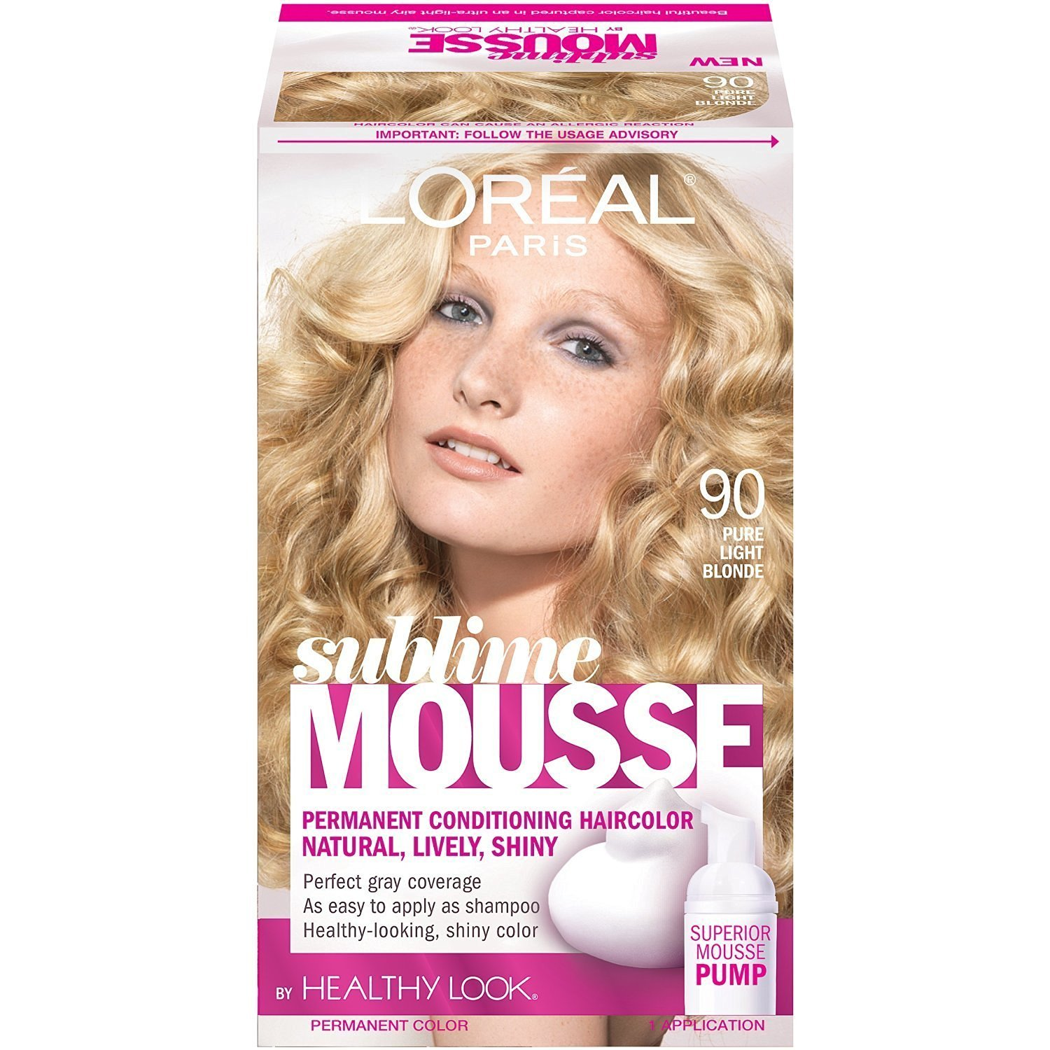 Buy Loreal Sublime Mousse Hair Color 90 Pure Light Blonde Pack