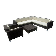 Wicker patio sofa mit aluminium basis