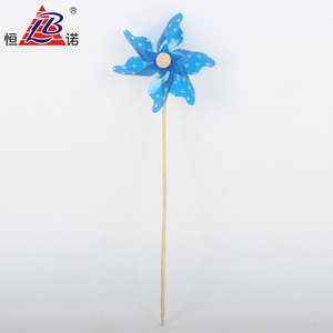DIY Blue Plastic PP Windmill Toy With Wooden Rod