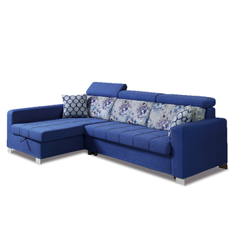 Trendy And Practical Sectional Blue Corner Sofa Come Bed Design