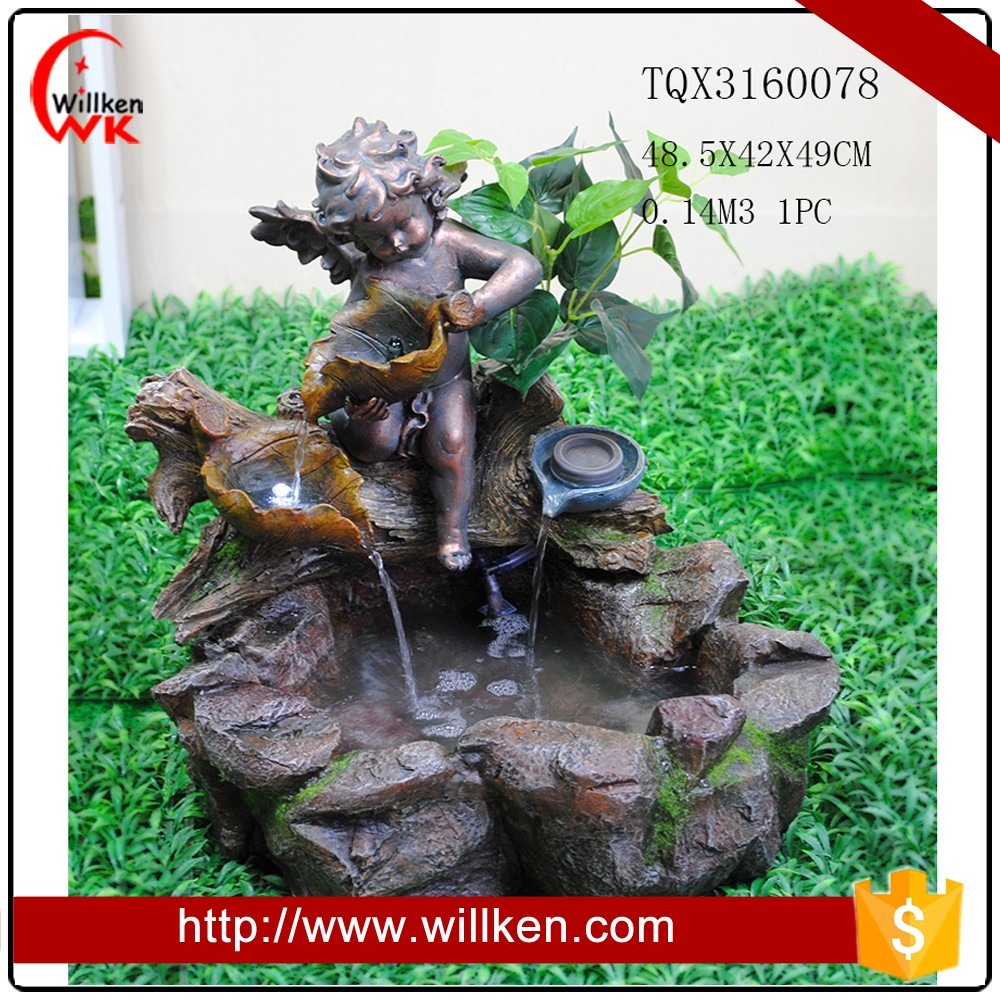 Factory price polyresin angel baby garden water fountain