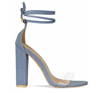 Damas Buy Sandalias Tacones sandalias Mezclilla señoras Claro Mujeres Mujer Las Azul Zapatos Product Tacones Denim De Bloque MpUzqVS