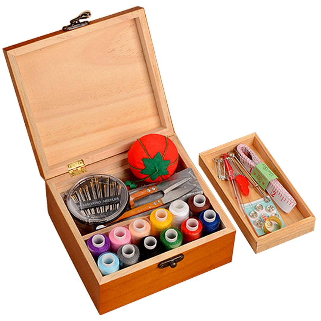 Wooden Portable Sewing Box with Sewing Kit Package Sewing Basket included Sewing Accessories(12pcs Thread Cord and 10pcs Sewing Kit Accessories)