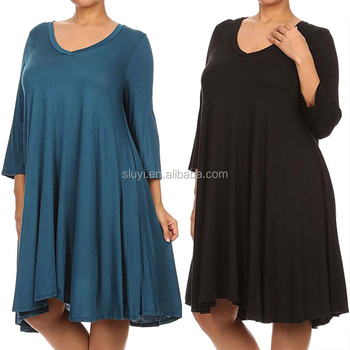 High Quality Plus Size Women Clothing Night Dress Ladies 3/4 ...