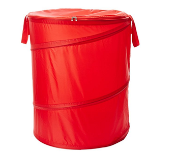 Folding interior decoration big round red laundry basket with zipped