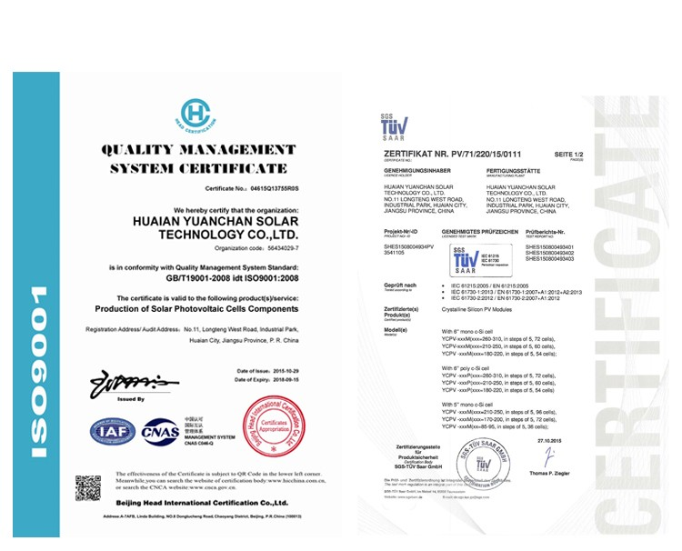 TUV ISO CE certificates for Columbia marketing 330 watt mono photovoltaic panel