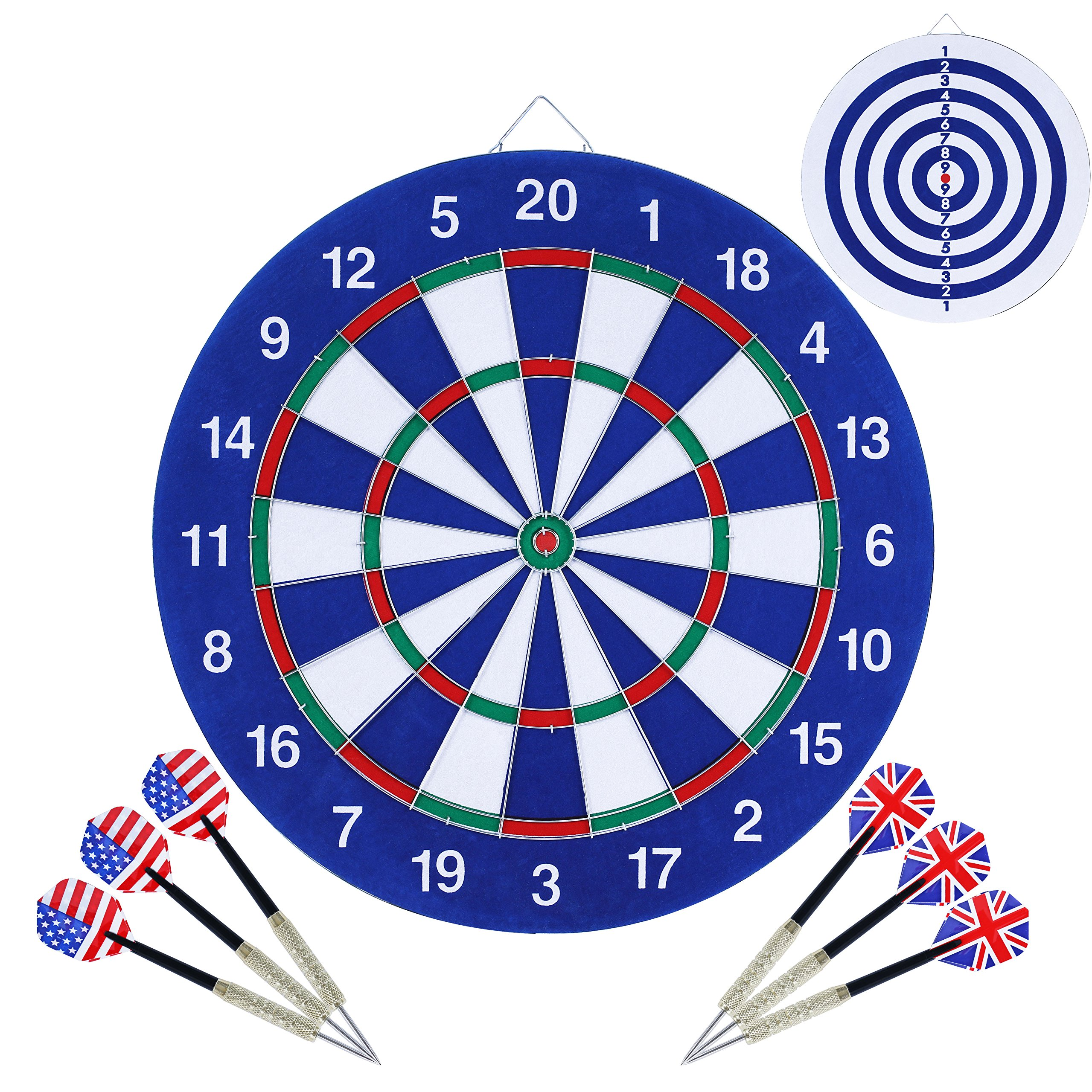 Vopa Dartboard 18 Inch Steel Soft Tip Dart Board Set with 6 Extra Darts for Kids Bar Room Door Garage and more