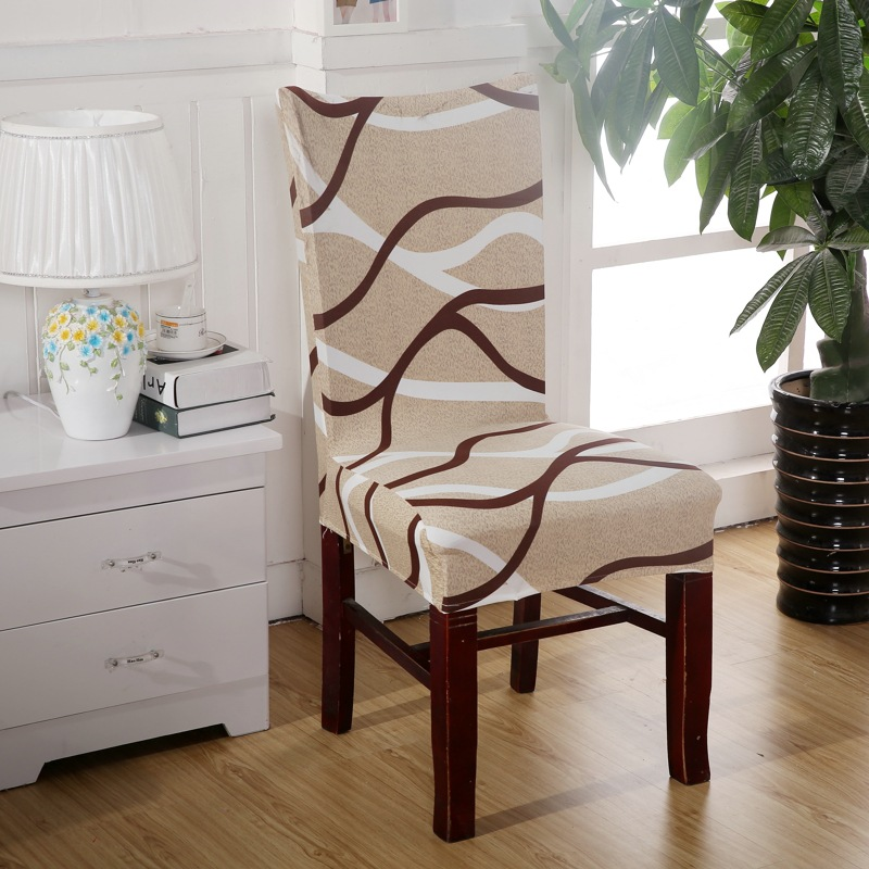 cheap dining room chair | 1 Piece Brown Curve Chair Covers Cheap Jacquard Stretch ...