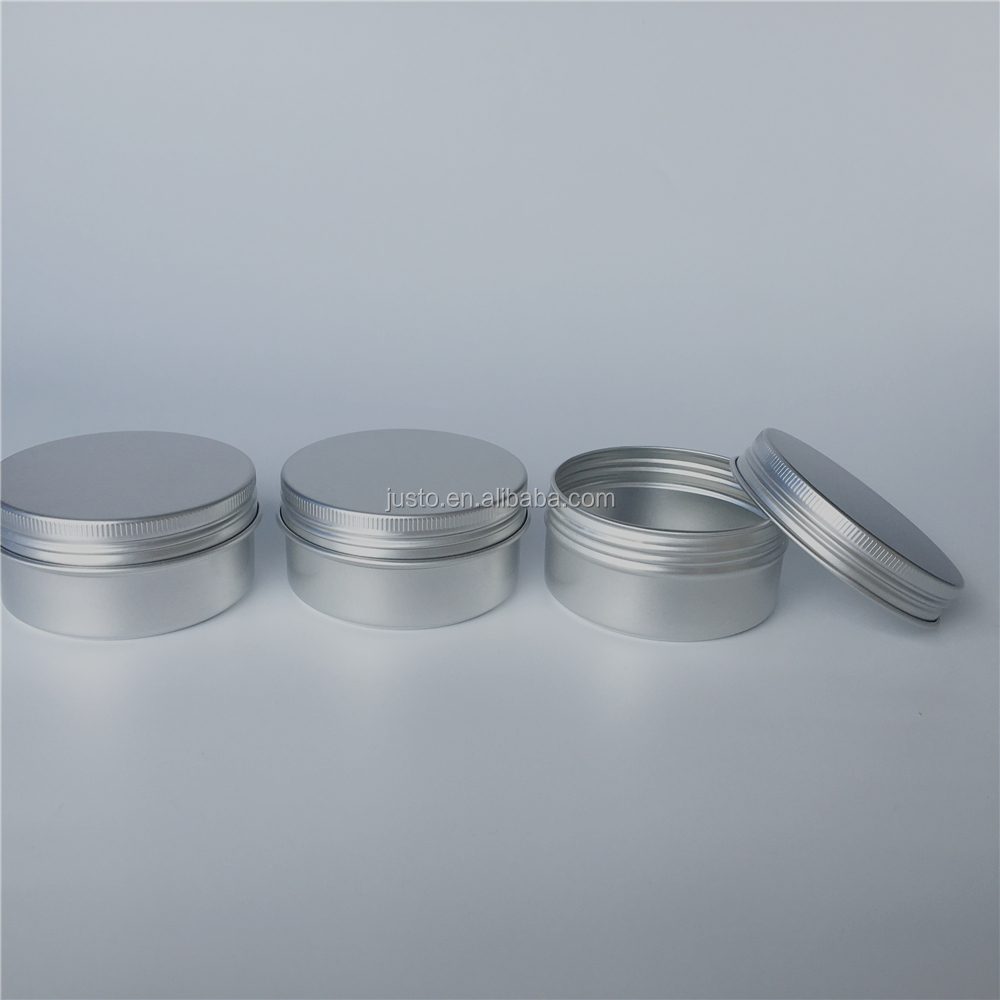 80ml Aluminum Tin Jars Cosmetic Sample Metal Tins Empty Container Bulk Round Pot Screw Cap Lid Small Ounce for Candle Lip Balm