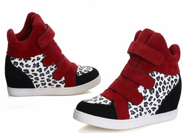f2fb4f35af9 Get Quotations · Ladies Design Velcro Leopard print High top Wedge sneakers  platform Women s Fashion Sneakers Casual sports breathable