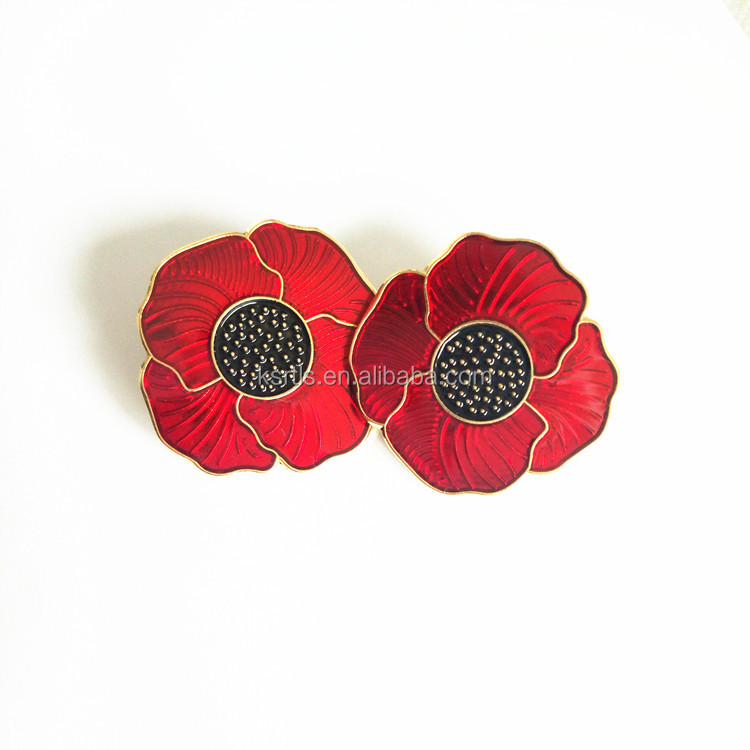 สีแดงและ Black Poppy ดอกไม้ Remembrance Memorial Day Enamel Lapel Pin