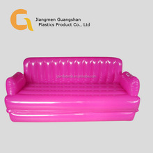 Pink inflatable double folding sofa bunk bed