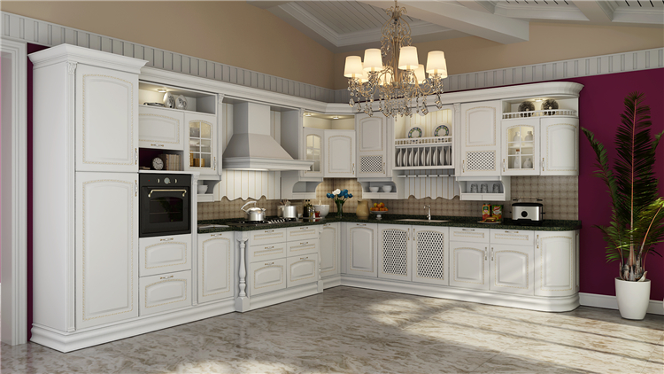 One-stop solution service luxury italian solid wood kitchen cabinets furniture