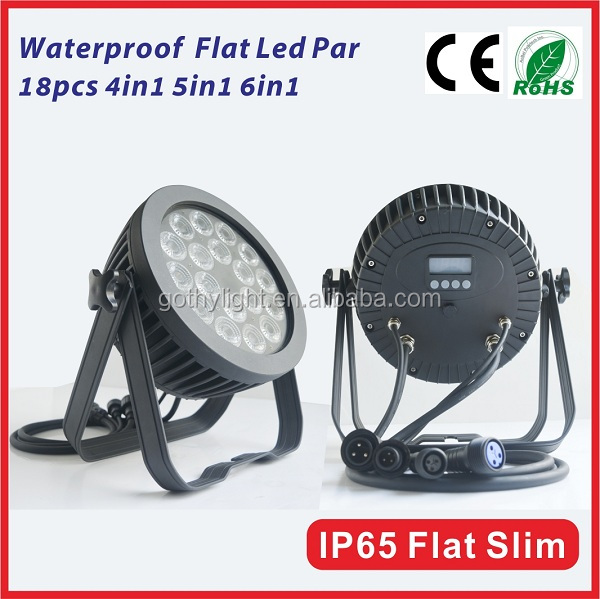 HOT RGBWA UV 6in1 Flat led par 64 led 18 x 15w stage light