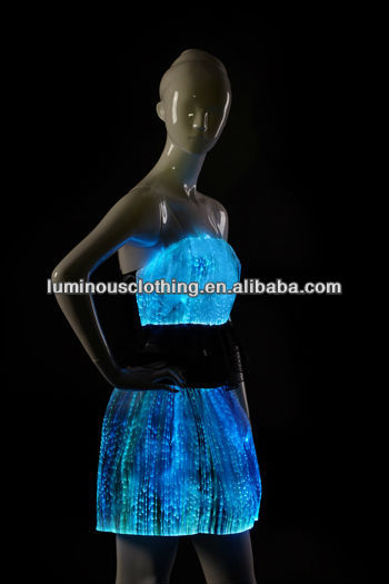 Magical 2014 Womens Sexy Wear Dance Club With Battery Operated Led Lights For Clothing Bar Wear Dancing Wear Luminous Tank Top