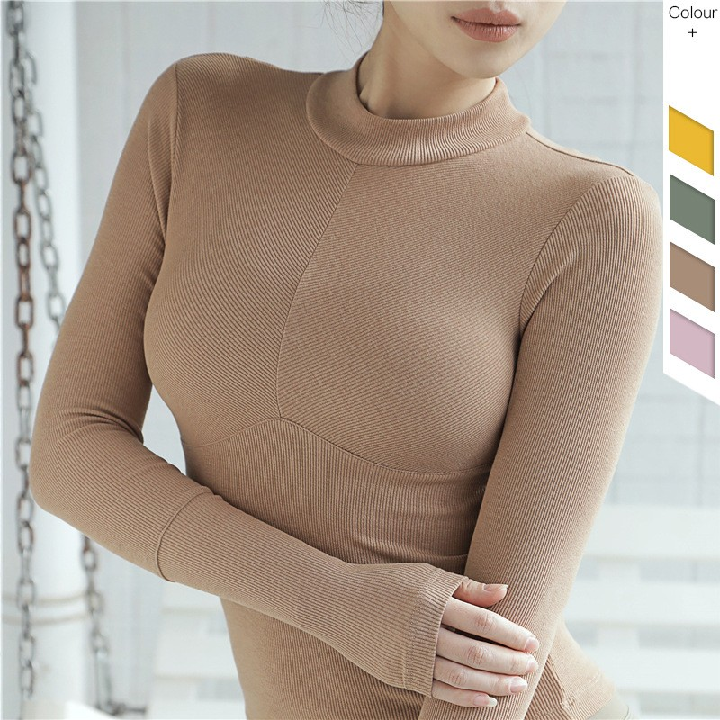 Wholesale Factory Directly Ladies Compression Knit Long Sleeves Polo Shirts 4