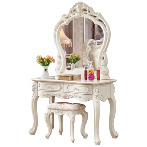European style Antique Dresser Furniture Dressing Table Set With Mirror And Stool Makeup Vanity Table wooden high quality