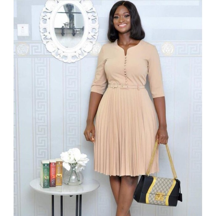 Alibaba.com / African office women midi dresses half sleeve O neck pleated retro vintage large plus size dress with belt A498