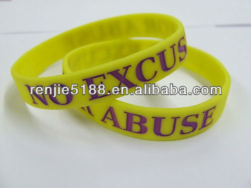 No Excuse For Abuse Yellow Domestic Violence Wristband Bracelet silicone band