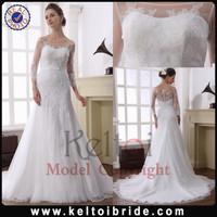 Guangzhou A Line Long Train Tulle Wholesale Lace Designer Bridal Gown 2014