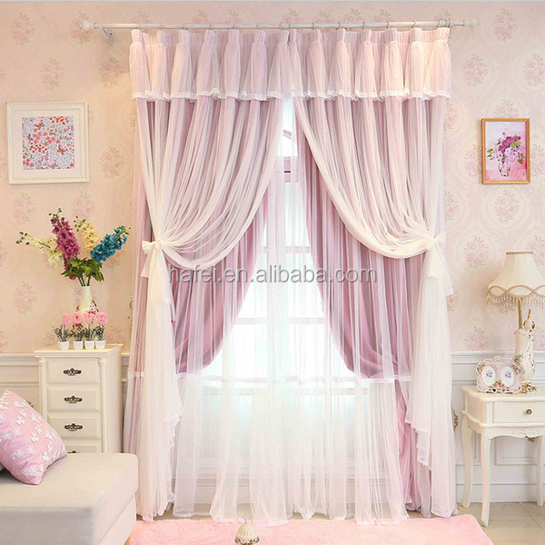 Luxury custom made in china 100% polyester fabric French lace blackout curtains