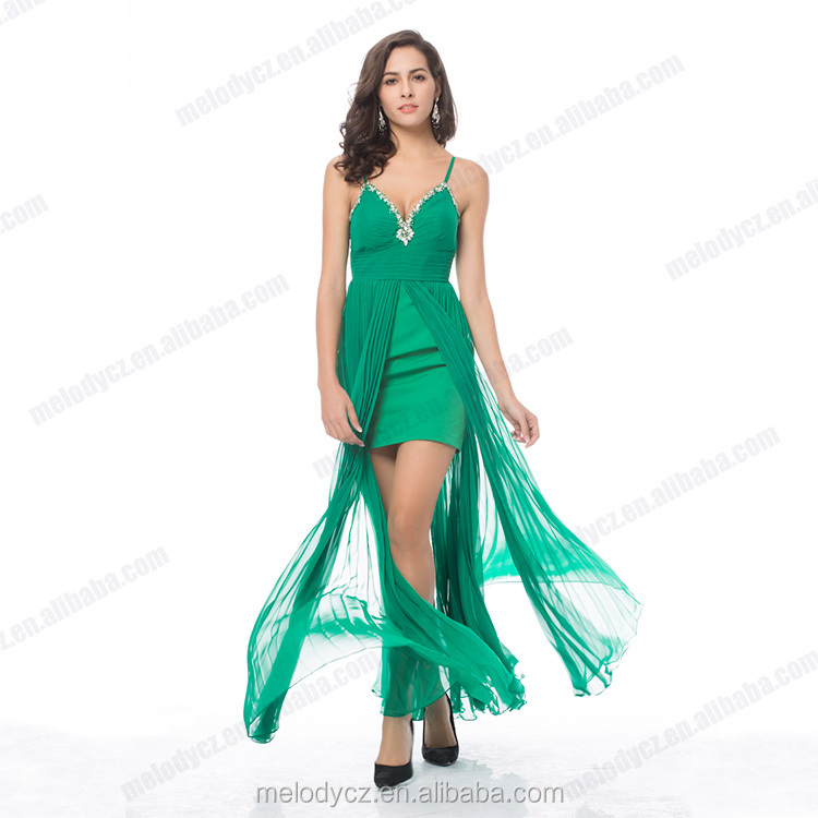 Green diamond chiffon ruffle sleeveless summer sexy revealing evening dress