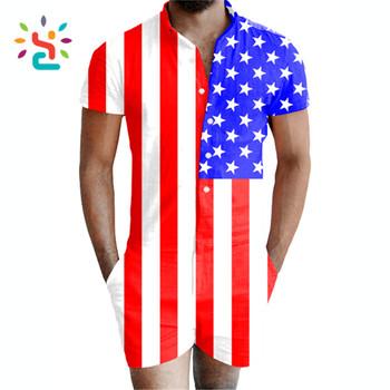 bfaae6e2679 Digital printing USA flag romper adult men bamboo fiber men s room pajama  rompers Jumpsuit for male