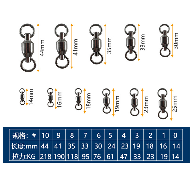 high quality Ball Bearing Swivel With Two Solid Rings for fishing