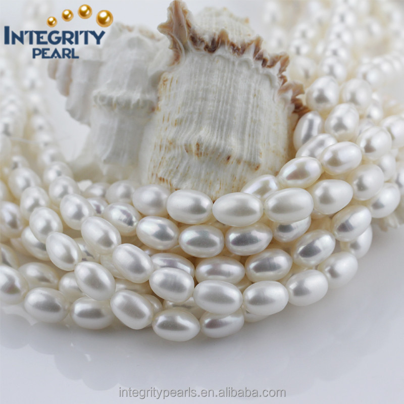 12mm AA- grade oval rice shape cheap white freshwater pearl 15-inch strand
