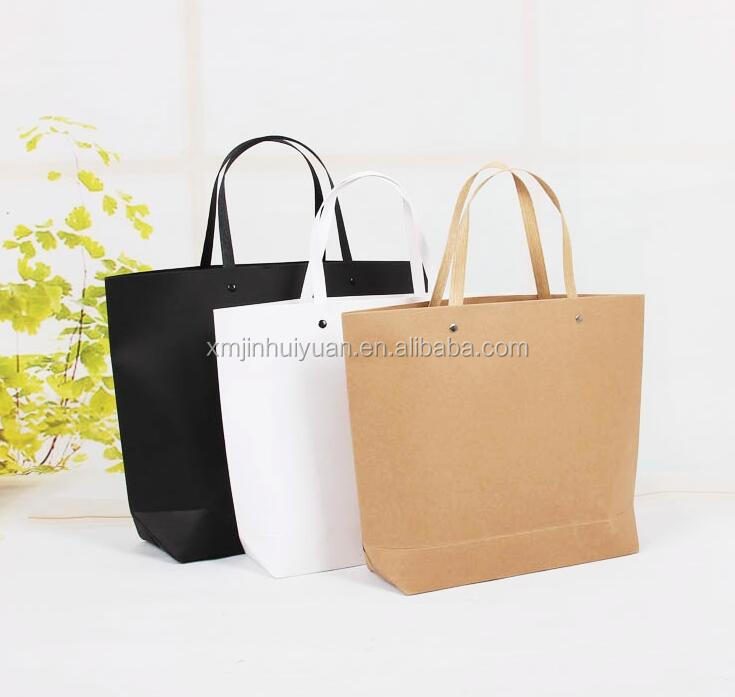 Cloth White <strong>Black</strong> Brown Boat Style Craft Bali Strong Paper Bag With Flat Paper Handles Wholesale