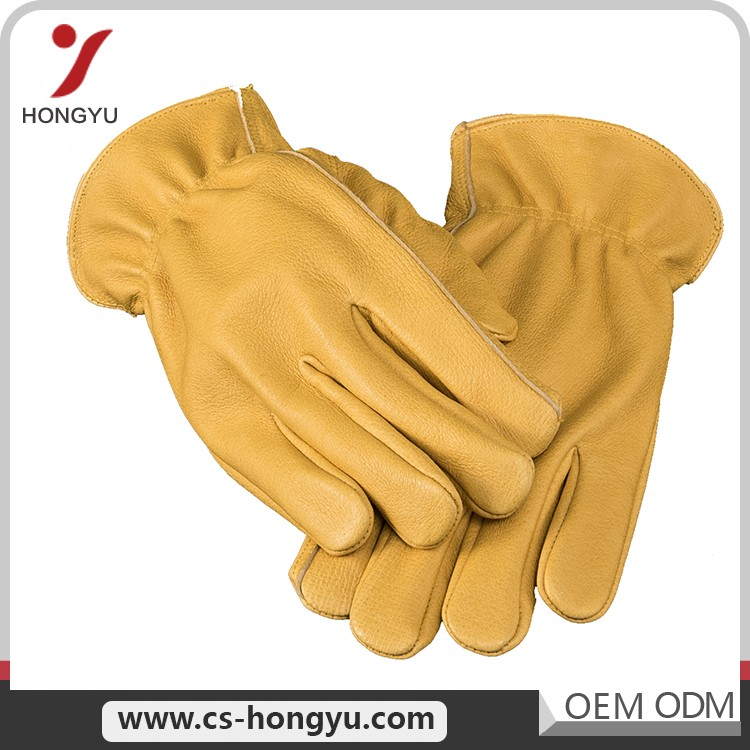 Natural Yellow Split Leather Male Heavy Duty Cow Labor Work Glove