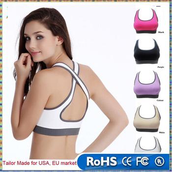 f0f39f392caa9 Women Lady Racerback Crop Top Stretch Vest Outdoor Sports Nylon Bra Gym  Shapewear Run Underwear Bras