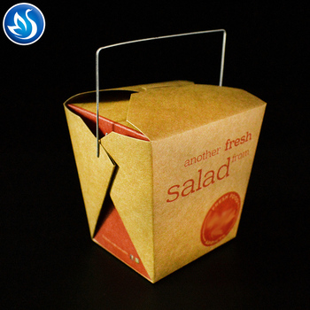 Paper food container noodle box take away paper noodle box with handle